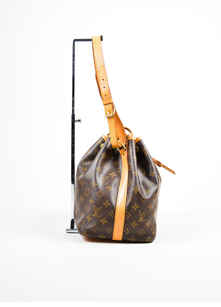 "Brown and Tan Louis Vuitton Monogram Coated Canvas ""Petit Noe"" Bucket Bag Sideview"