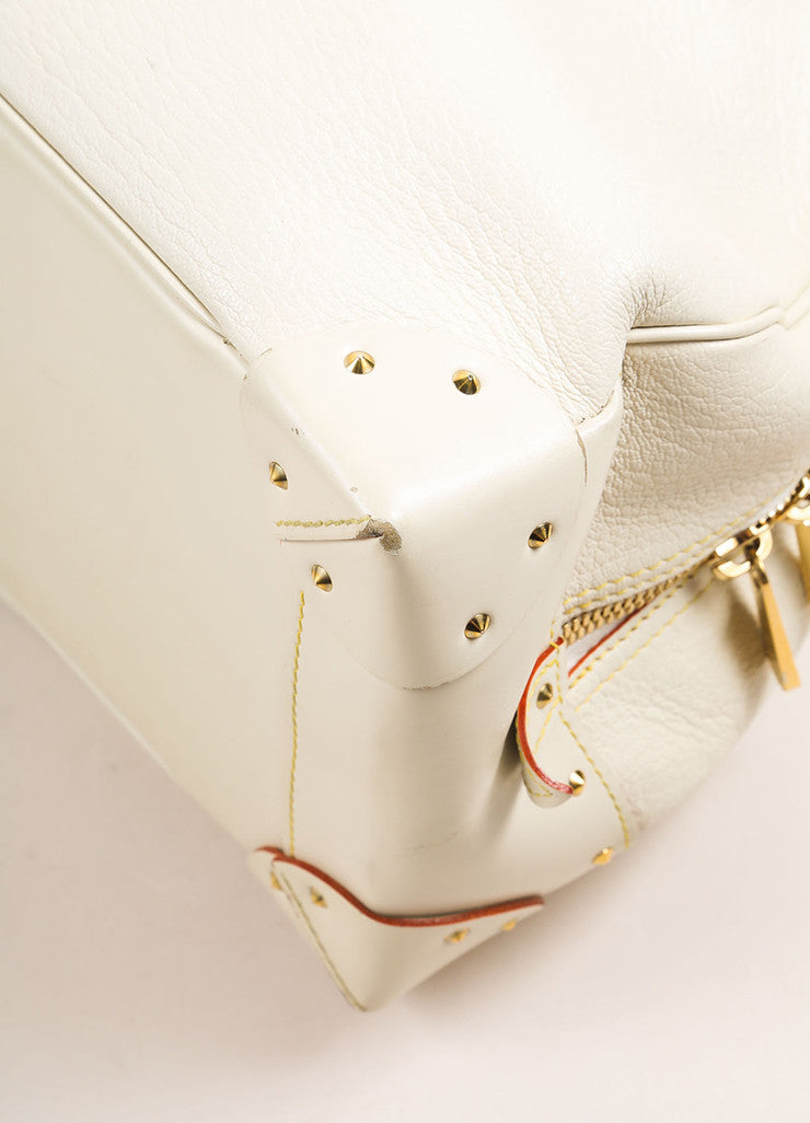 "Louis Vuitton Cream and Gold Toned Suhali Leather Studded ""Le Superbe"" Satchel Bag Detail"