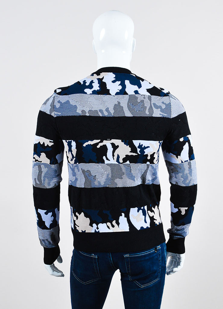 Men's Givenchy Black Blue Beige Camo Striped Sweater Back