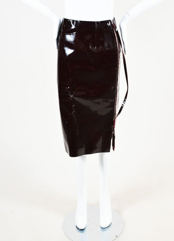 Maison Martin Margiela Maroon Patent Leather Midi Pencil Skirt Frontview