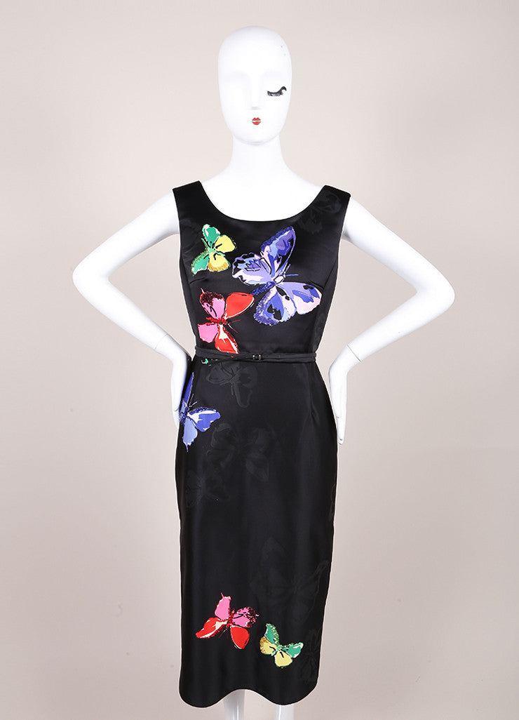 Marc Jacobs New With Tags Black Butterfly Sequin Print Sleeveless Midi Sheath Dress Frontview
