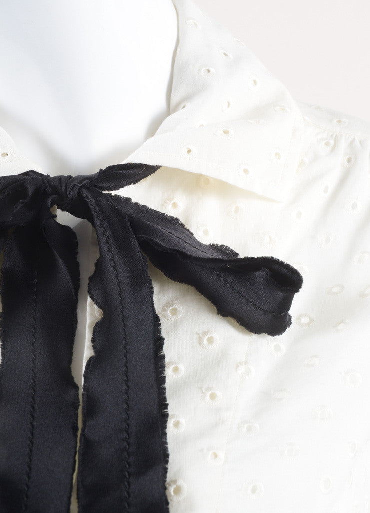 Marc Jacobs New With Tags Cream and Black Ribbon Tie Cropped Cotton Eyelet Blouse Detail