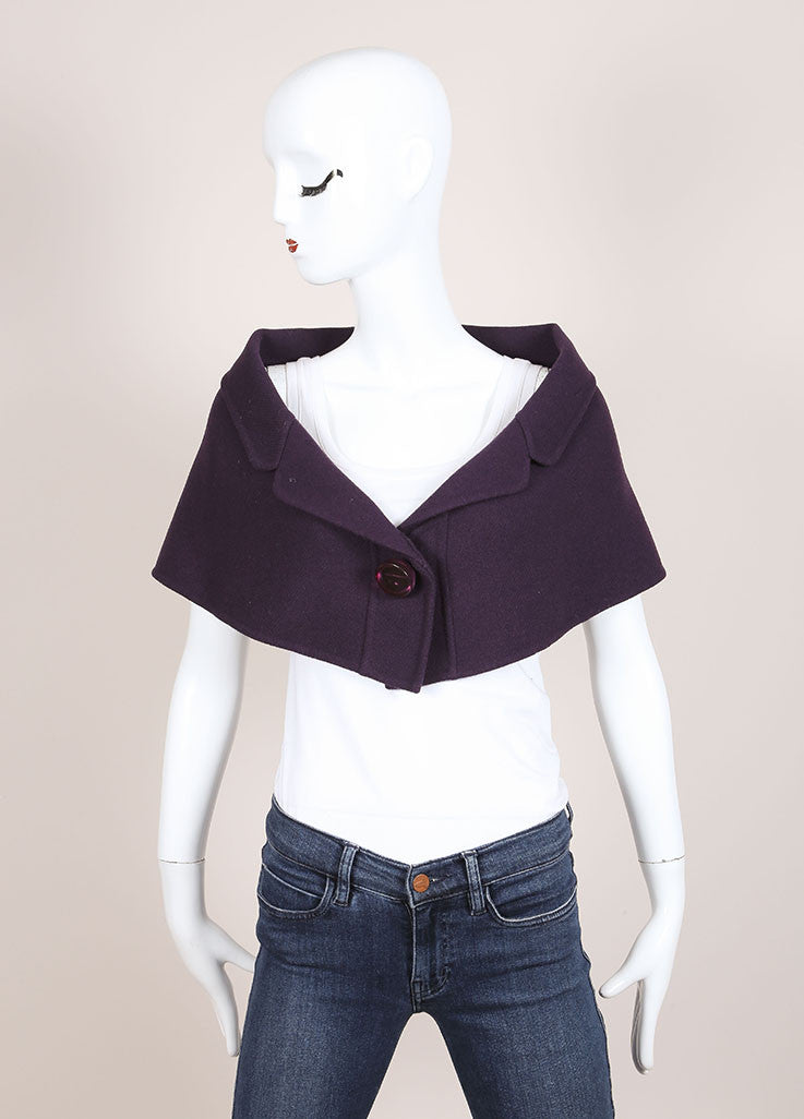 Marc Jacobs Purple Wool Buttoned and Collared Cape Frontview