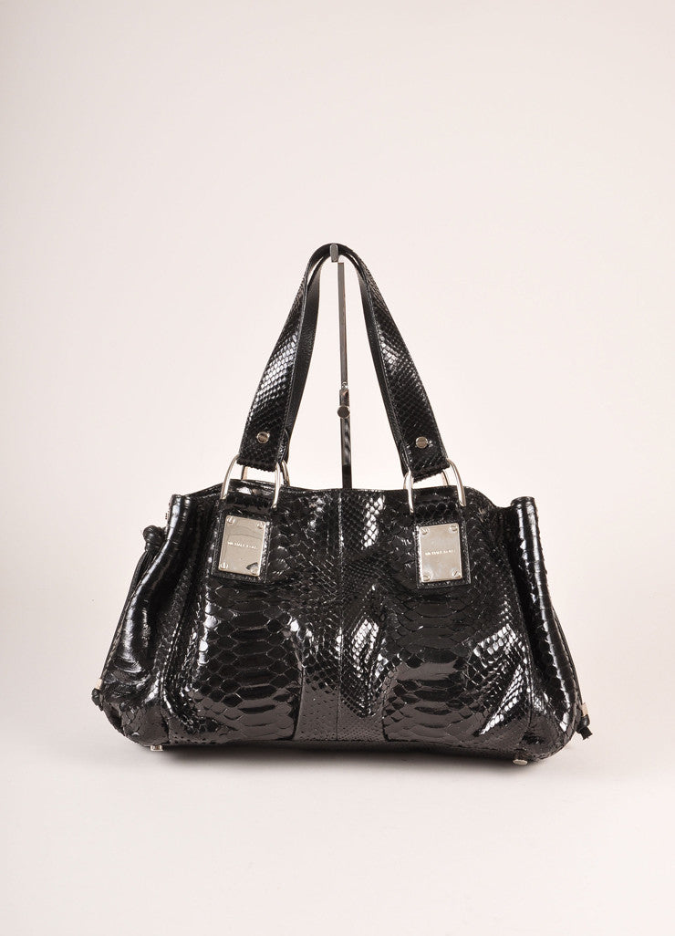 Michael Kors Collection Black Snakeskin Handbag Frontview