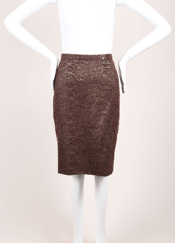 Moschino Cheap and Chic New With Tags Brown Metallic Gold Wool Boucle Pencil Skirt Frontview