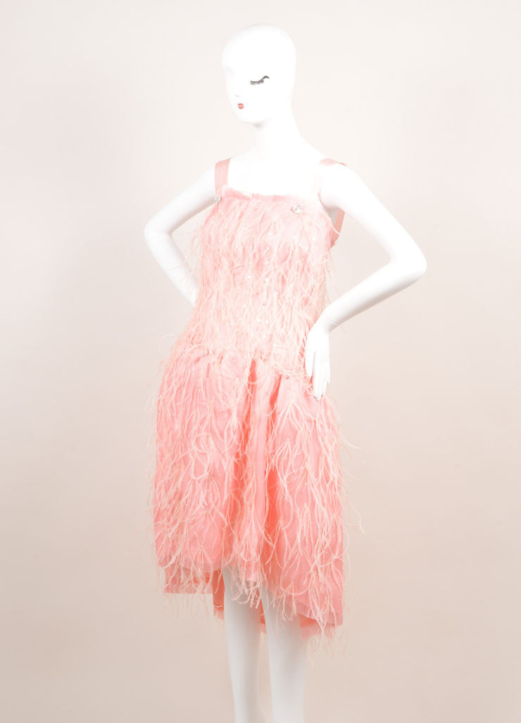 Oscar de la Renta New With Tags Light Pink Silk Woven Feather Sequin Dress Sideview