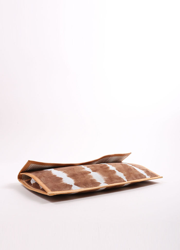 Ports Brown and White Suede Leather Tie Dye Long Flap Clutch Bag Bottom View