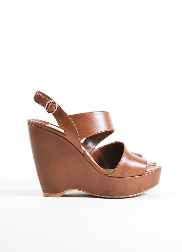 Prada Brown Leather Cut Out Strappy Platform Wedge Sandals Sideview