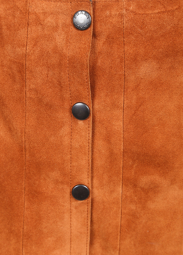 Prada Cognac Suede Leather Button Down A-Line Skirt Detail