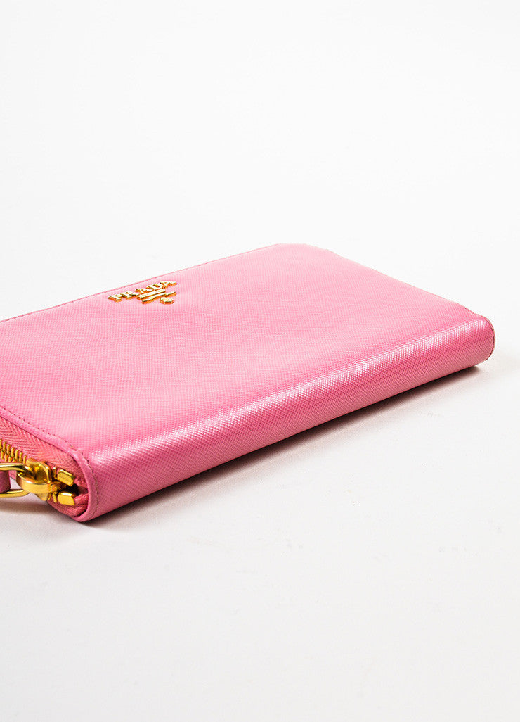 Prada Pink Gold Toned Saffiano Leather Zip Around Wallet Bottom View