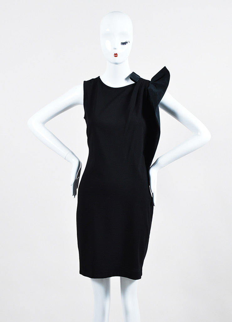 Red Valentino Black Knit Asymmetrical Shoulder Bow Sleeveless Stretch Cocktail Dress Frontview