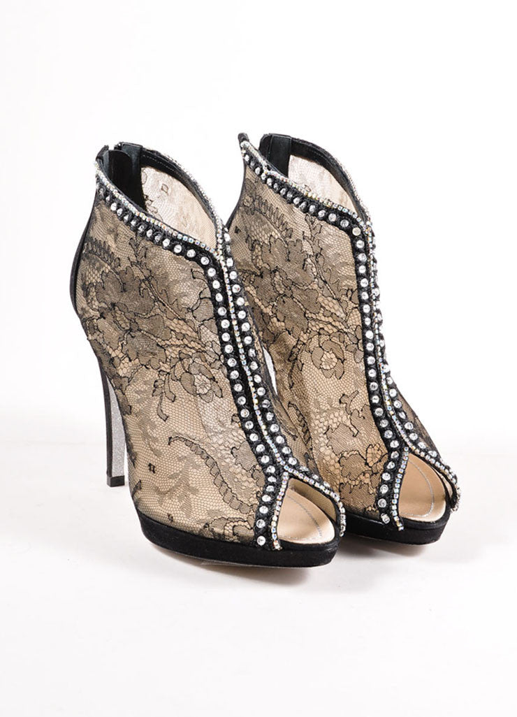 Rene Caovilla Black and Nude Sheer Floral Lace Rhinestone Embellished Booties Frontview