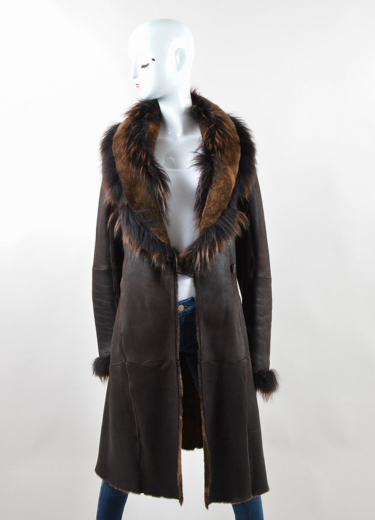 Rizal Dark Brown Shearling Long Tailored Winter Coat Frontview
