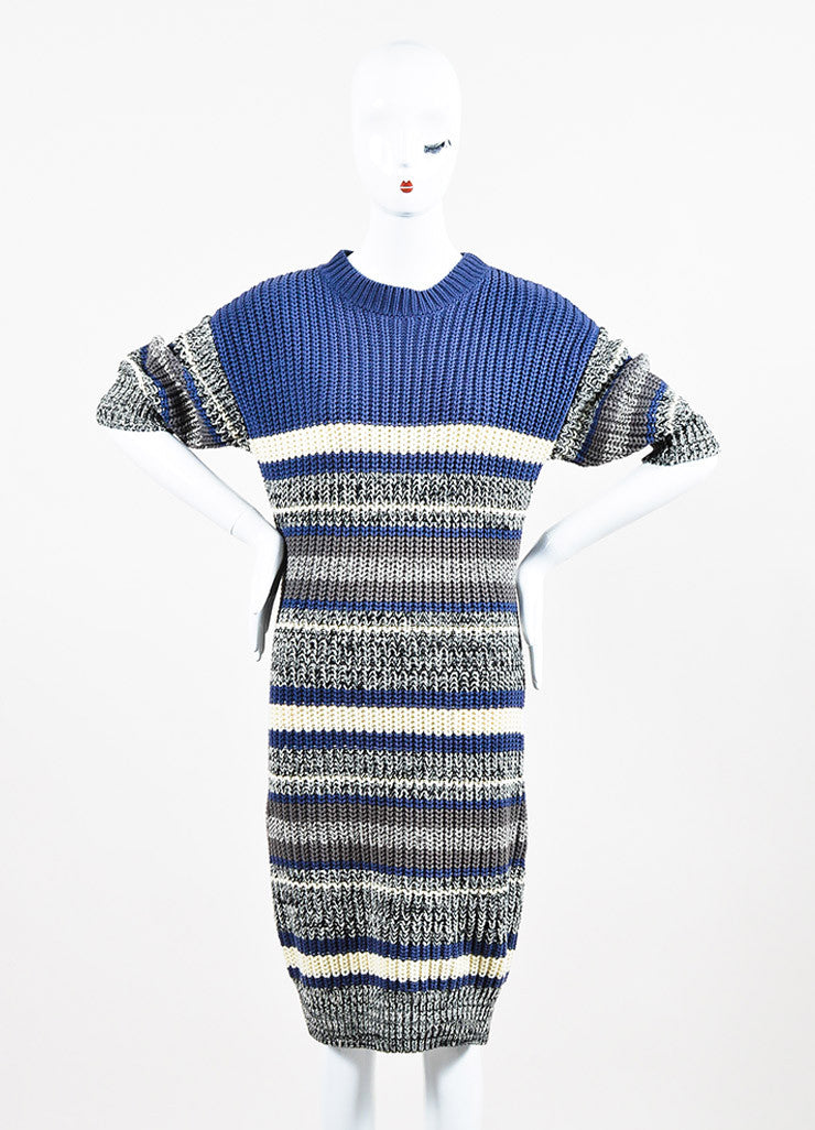 Self-Portrait Blue and Cream Cotton Knit Striped Short Sleeve Sweater Dress Frontview