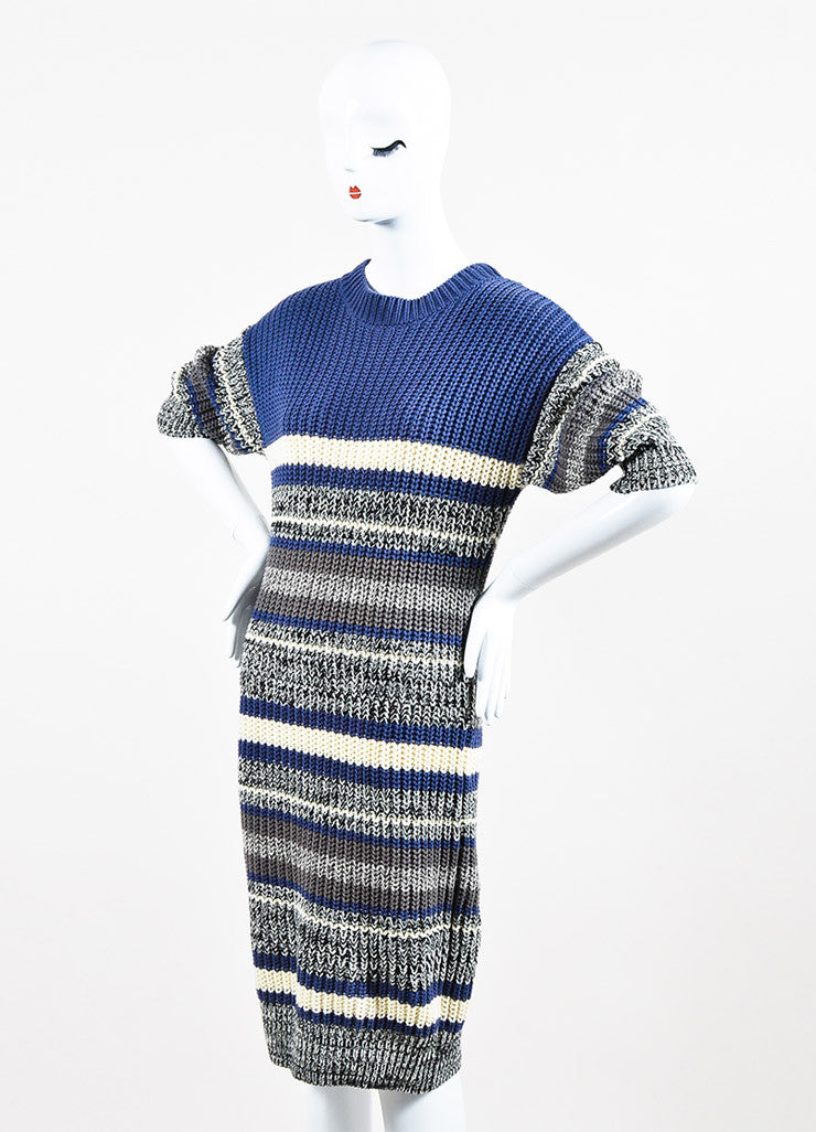 Self-Portrait Blue and Cream Cotton Knit Striped Short Sleeve Sweater Dress Sideview