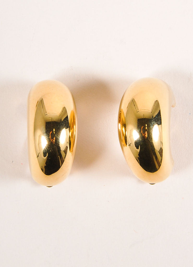 St. John Gold Toned Half Circle Wide Earrings Frontview