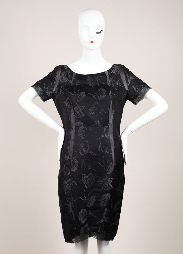Thakoon Black Mesh Silk Abstract Rose Print Sheath Dress Frontview