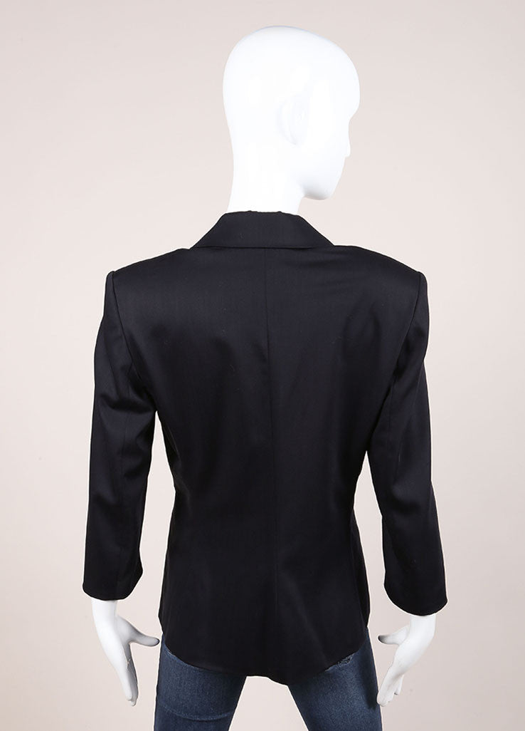 The Row Black Wool Blend Classic Buttoned Quarter Sleeve Blazer Backview