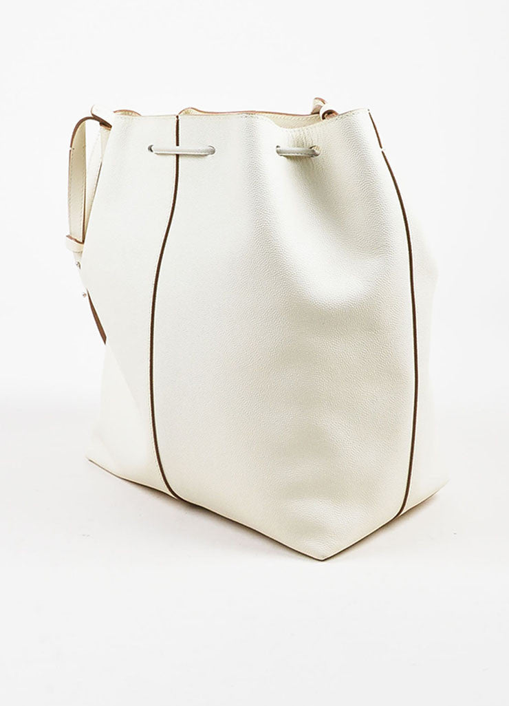 "The Row White and Brown Pebbled Leather Drawstring ""Bucket 10"" Bag Sideview"