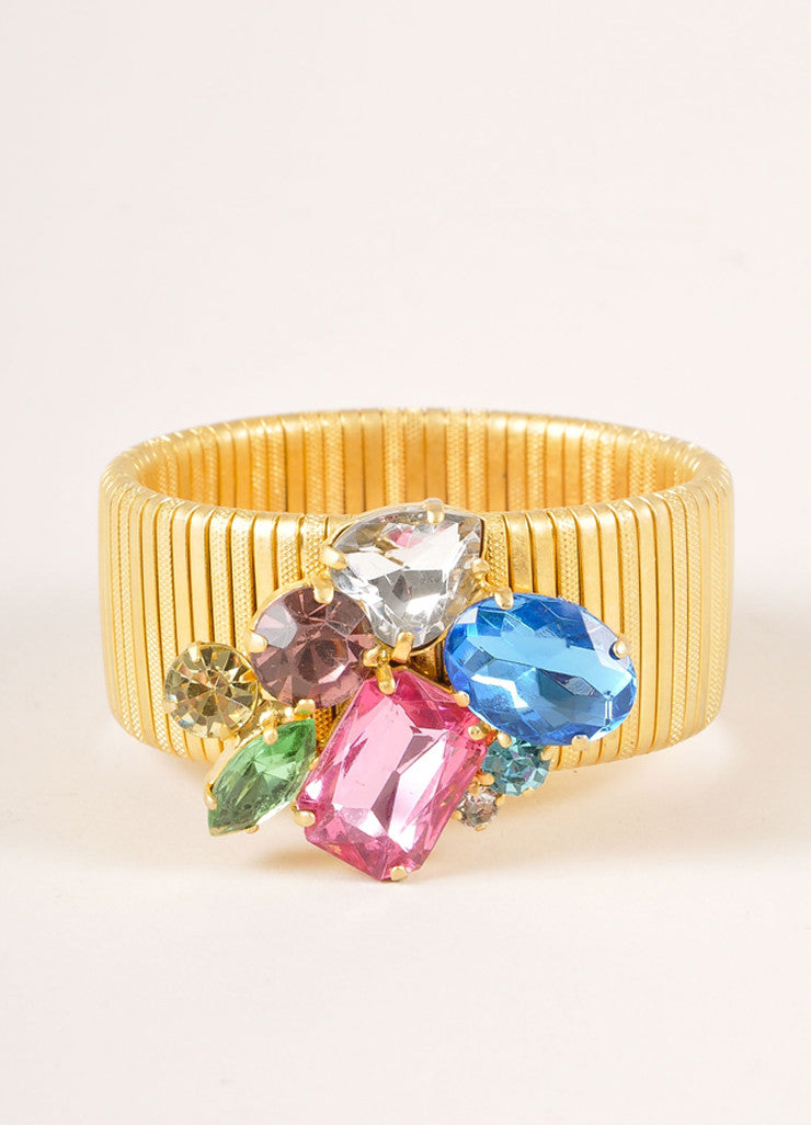 Vintage Gold Toned and Multicolor Rhinestone Gem Cluster Stretch Band Bracelet Frontview