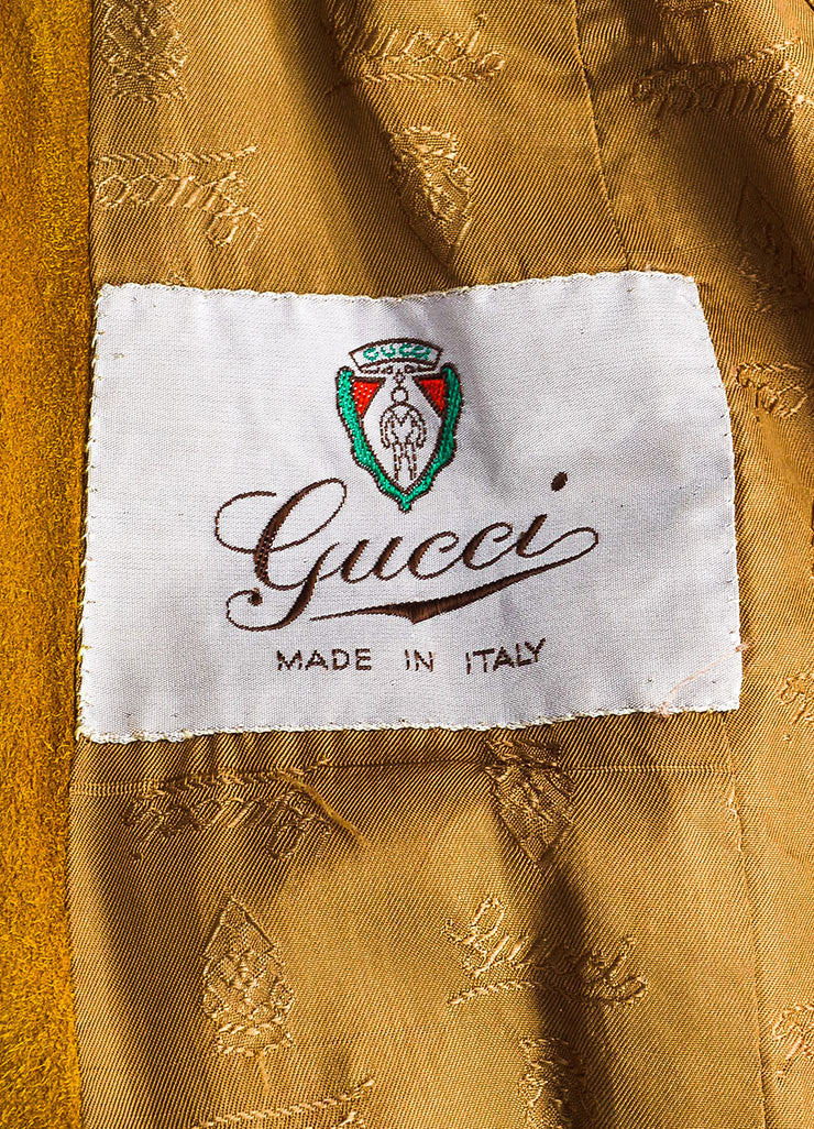 Gucci Yellow Suede Leather Trim Horseshoe Hardware Long Jacket Brand