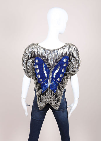 Gunit Black, Silver, and Blue Butterfly Sequin Asymmetric Hem Draped Blouse Backview