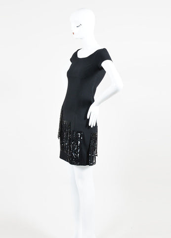 Valentino Black Wool and Silk Beaded Short Sleeve Sheath Dress Sideview