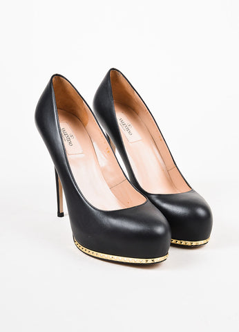 Valentino Garavani Black and Gold Toned Leather Studded Platform Pumps  Frontview