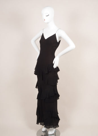 Vera Wang Black and Brown Ruffle Trim Floor Length Sleeveless Silk Gown Sideview