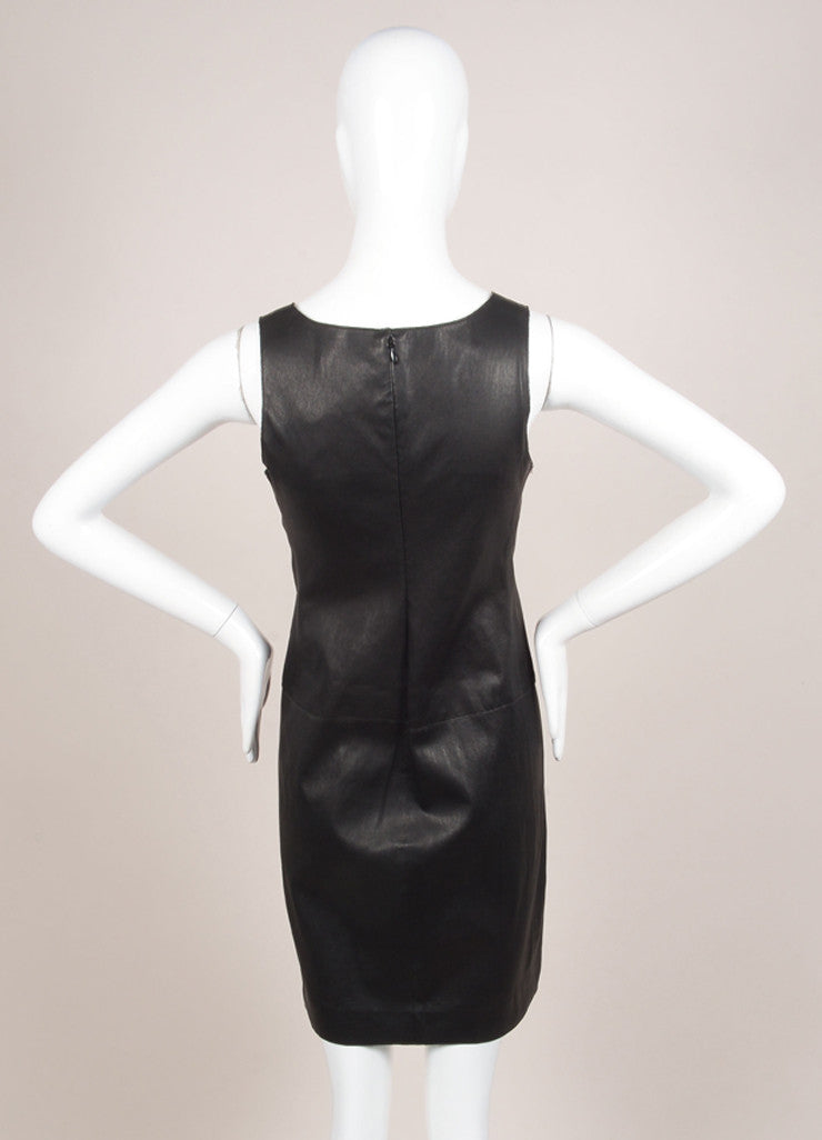Vince New With Tags Black Leather Knit Contrast Sleeveless Dress Backview