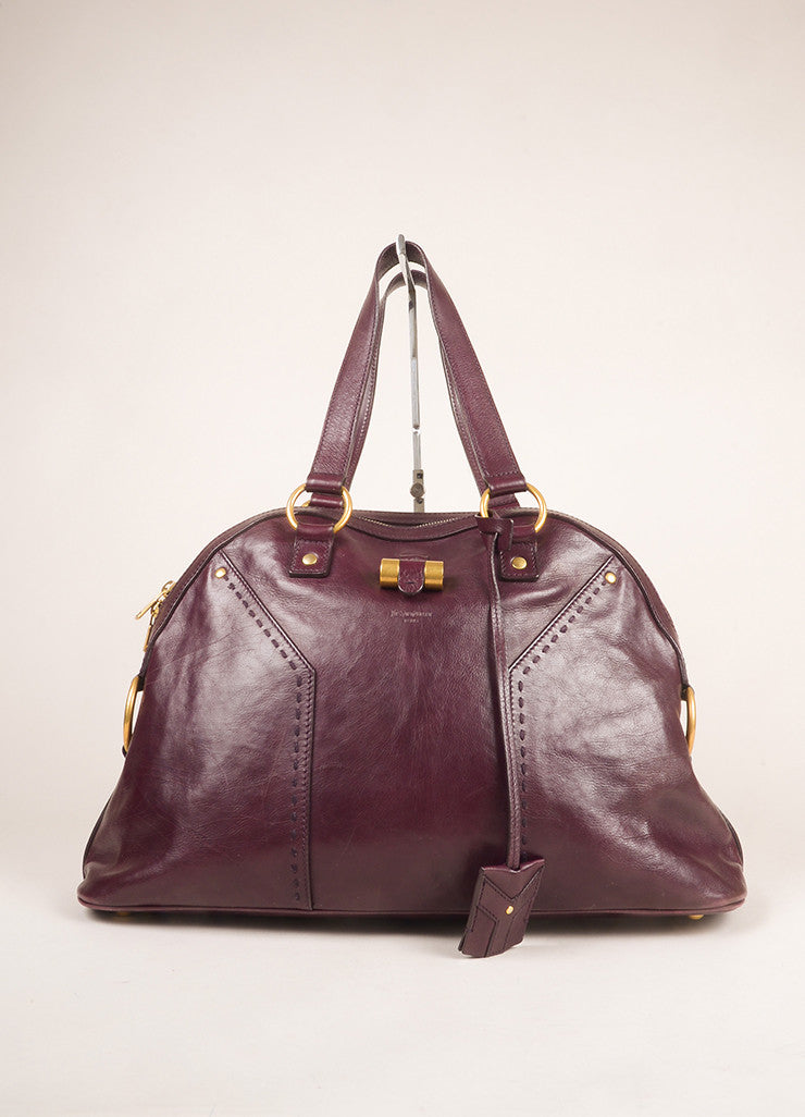"Yves Saint Laurent Maroon Calfskin Leather Large ""Muse"" Handbag Frontview"