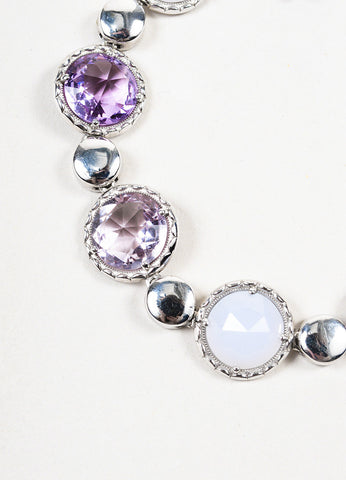 Tacori Sterling Silver, Amethyst, and Chalcedony Lilac Blossoms Bracelet Detail