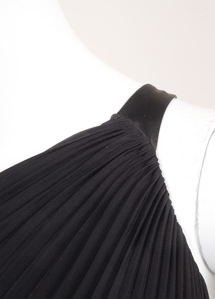 Dior New With Tags Black Silk Pleated  Asymmetrical One Shoulder Dress Detail