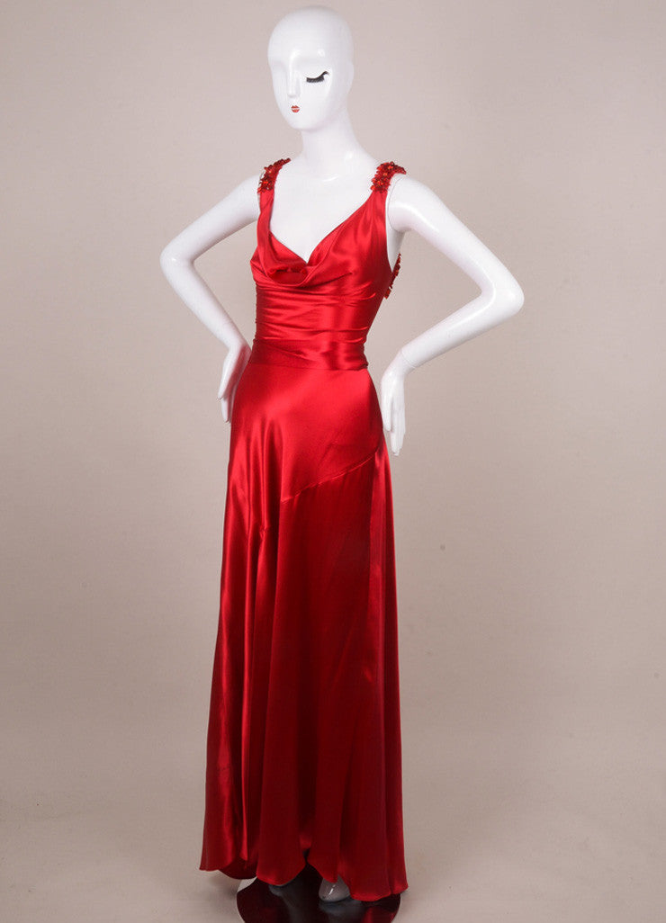 Jenny Packham Red Silk Embellished Lace Up Gown