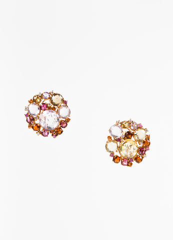 "A & Furst 18K Gold Pink Sapphire Diamond ""Bouquet"" Post Earrings frontview"