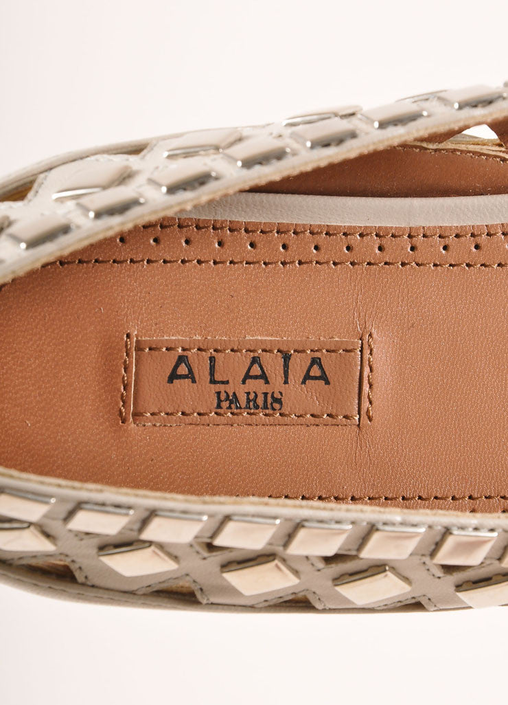 Alaia New In Box Cream and Silver Toned Flat Studded Cut Out Leather Flats Brand