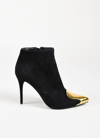 Alexander McQueen Black Suede Gold Toned Pointy Toe Ankle Booties Sideview