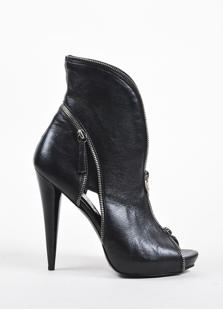 Alexander McQueen Black Leather Zipper Peep Toe Ankle Booties Sideview