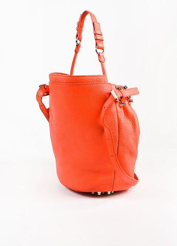 "Alexander Wang Coral Leather Studded Small ""Diego"" Bucket Bag Back"
