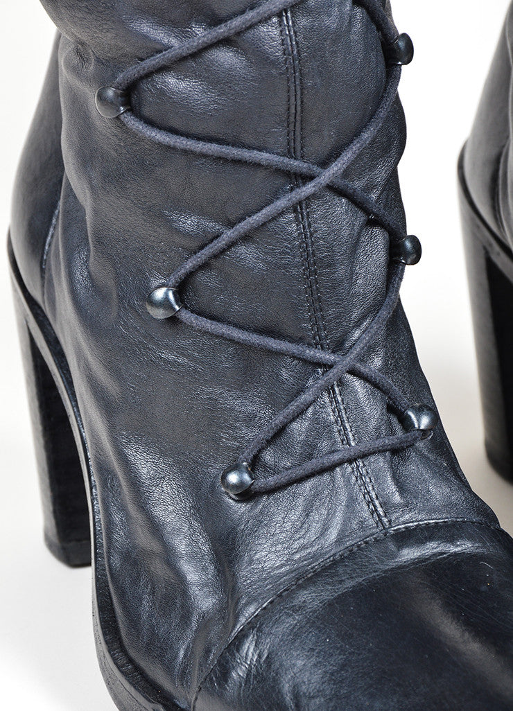 "Black Ann Demeulemeester Leather Knee High Lace Up ""Roccia Forte"" Boots Detail"