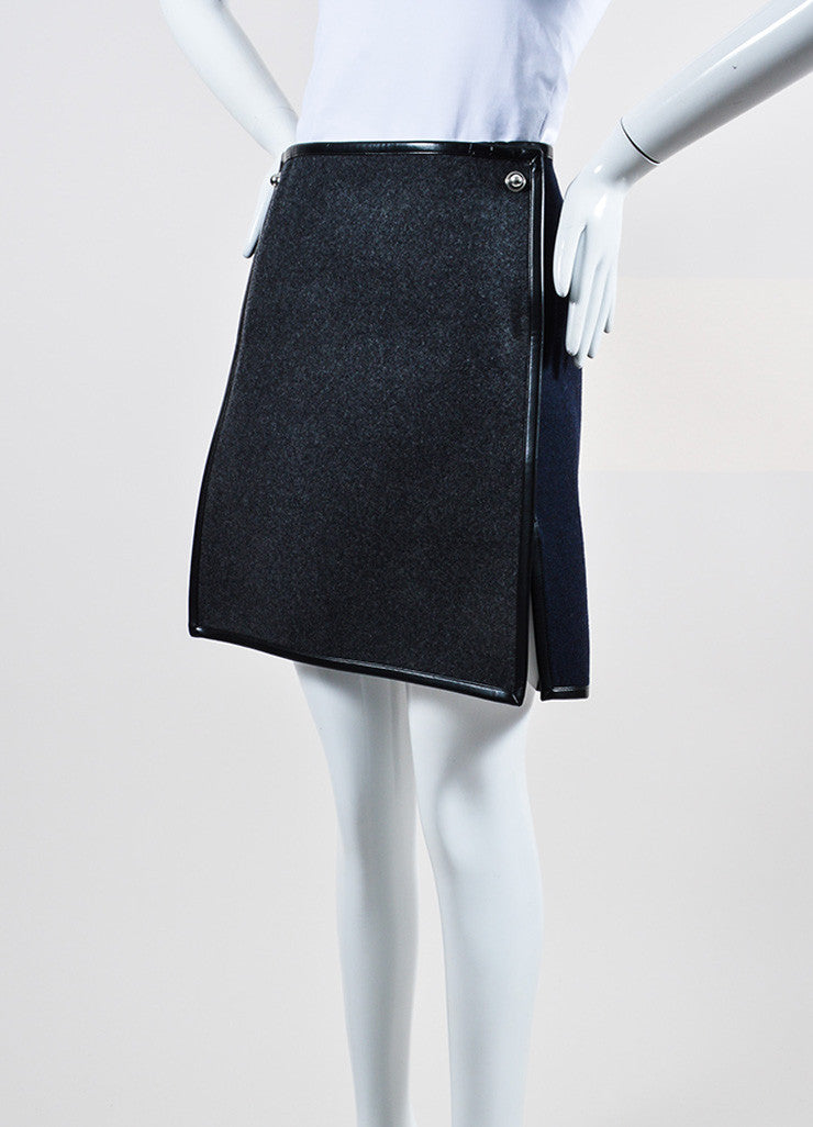 Grey, Navy, and Black Balenciaga Wool Silk Leather Trim Layered Flap Short Skirt Sideview