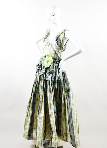 Green and Cream Bill Blass Taffeta Striped Fringe Trim Flower Pin Gown Sideview