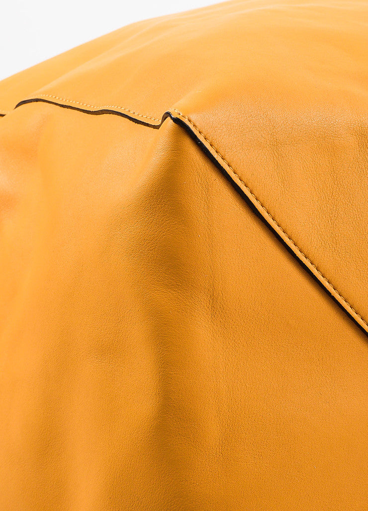 "Celine ""Daffodil"" Yellow Leather ""Large Coulisse"" Drawstring Tote Bag Detail 2"