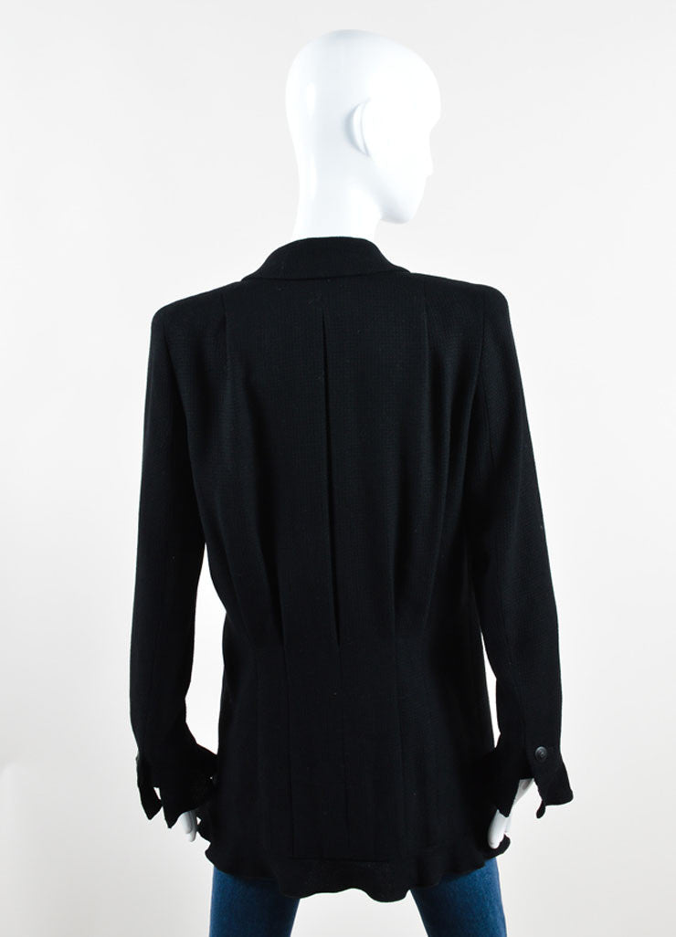 Chanel Black Wool Blend Textured Ruffle Hem Zip Jacket Backview