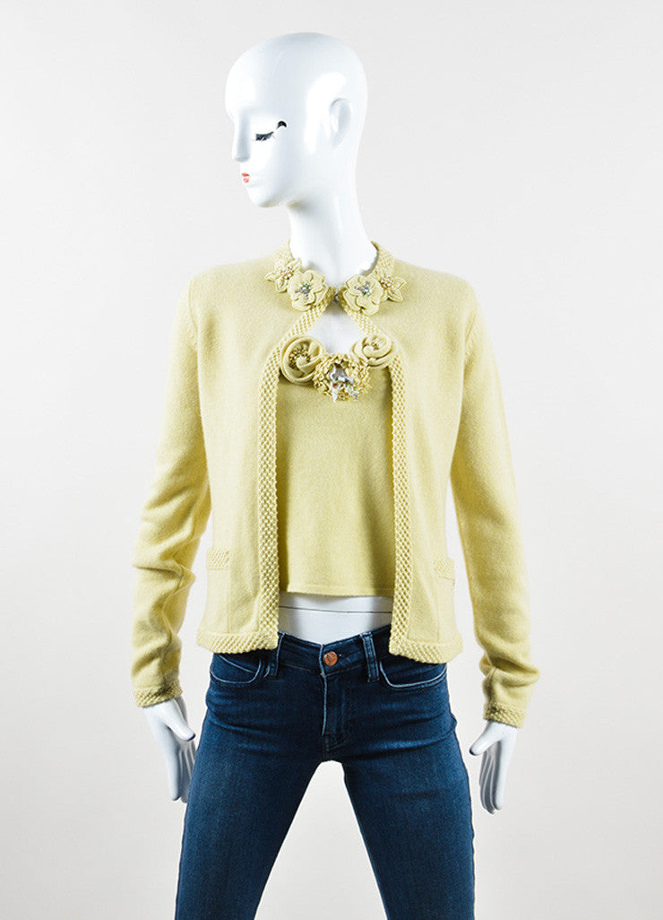Chanel Chartreuse Cashmere Embellished Pin Cardigan and Shell Set Frontview
