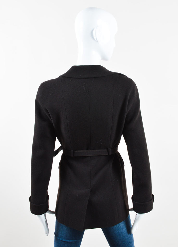 "Chanel Dark Brown Wool ""CC"" Chain Trim Belted Jacket Backview"