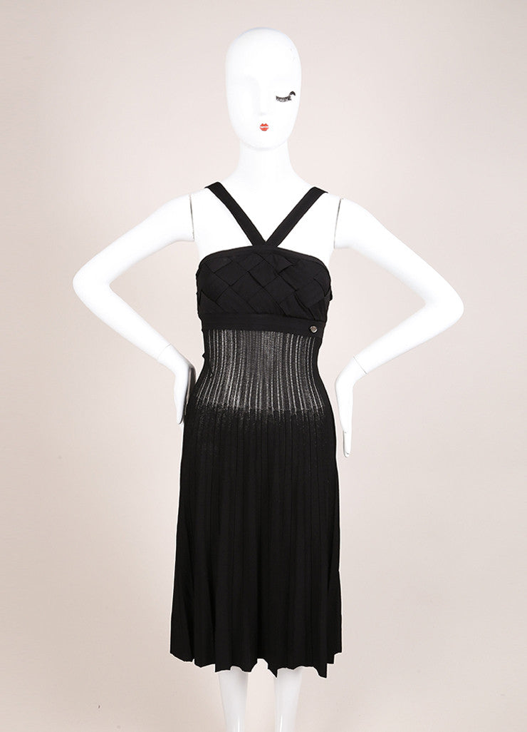 Chanel Black Knit Woven Pleated Empire Waist Sleeveless Dress Frontview