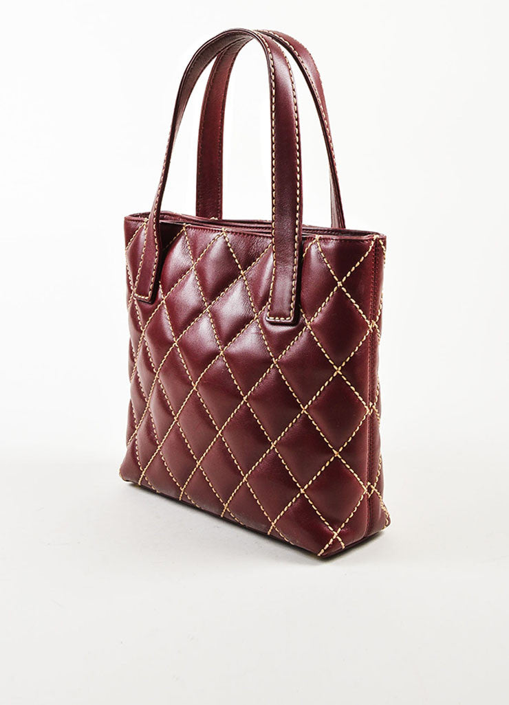 "Chanel Burgundy and Beige Leather Quilted ""Wild Stitch Small Tote"" Bag Sideview"