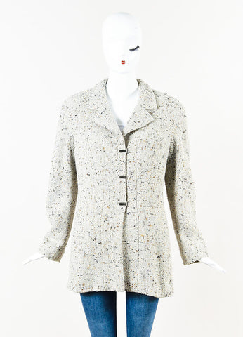 Chanel Grey and Multicolor Wool Metallic Tweed Logo Clip Long Sleeve Pea Coat Frontview