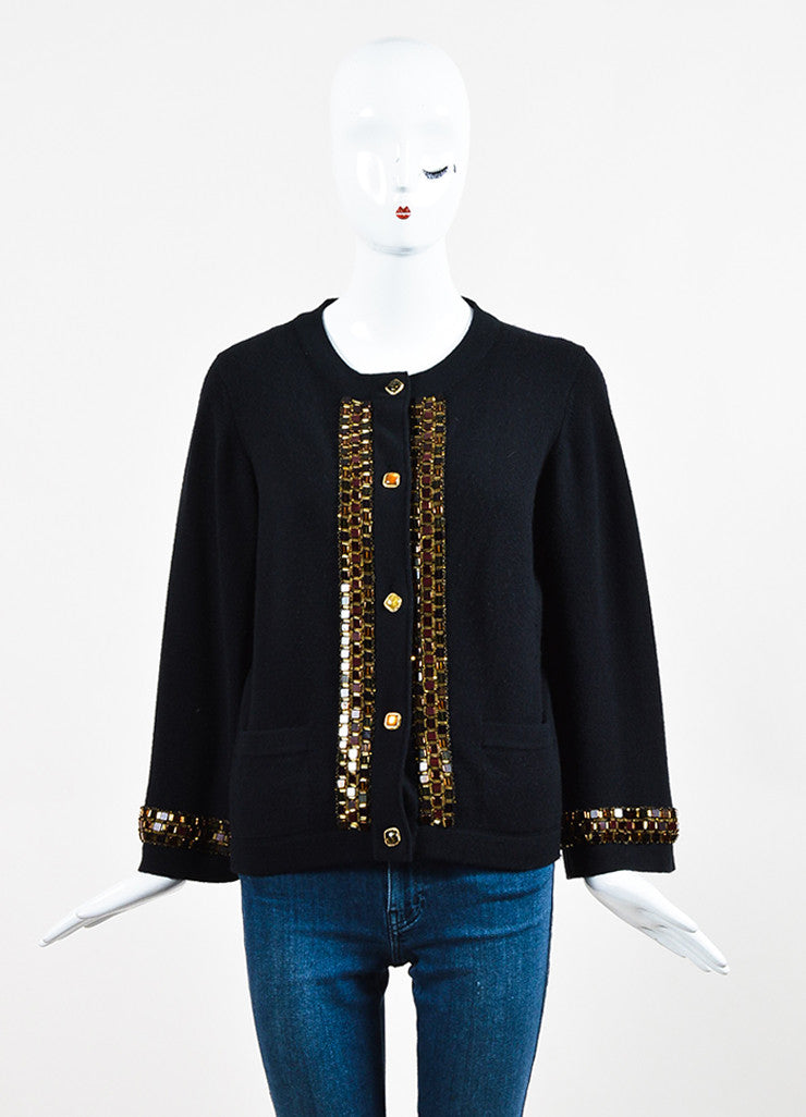 Black Chanel Cashmere Embellished Bead Trim Cardigan Sweater Front 2